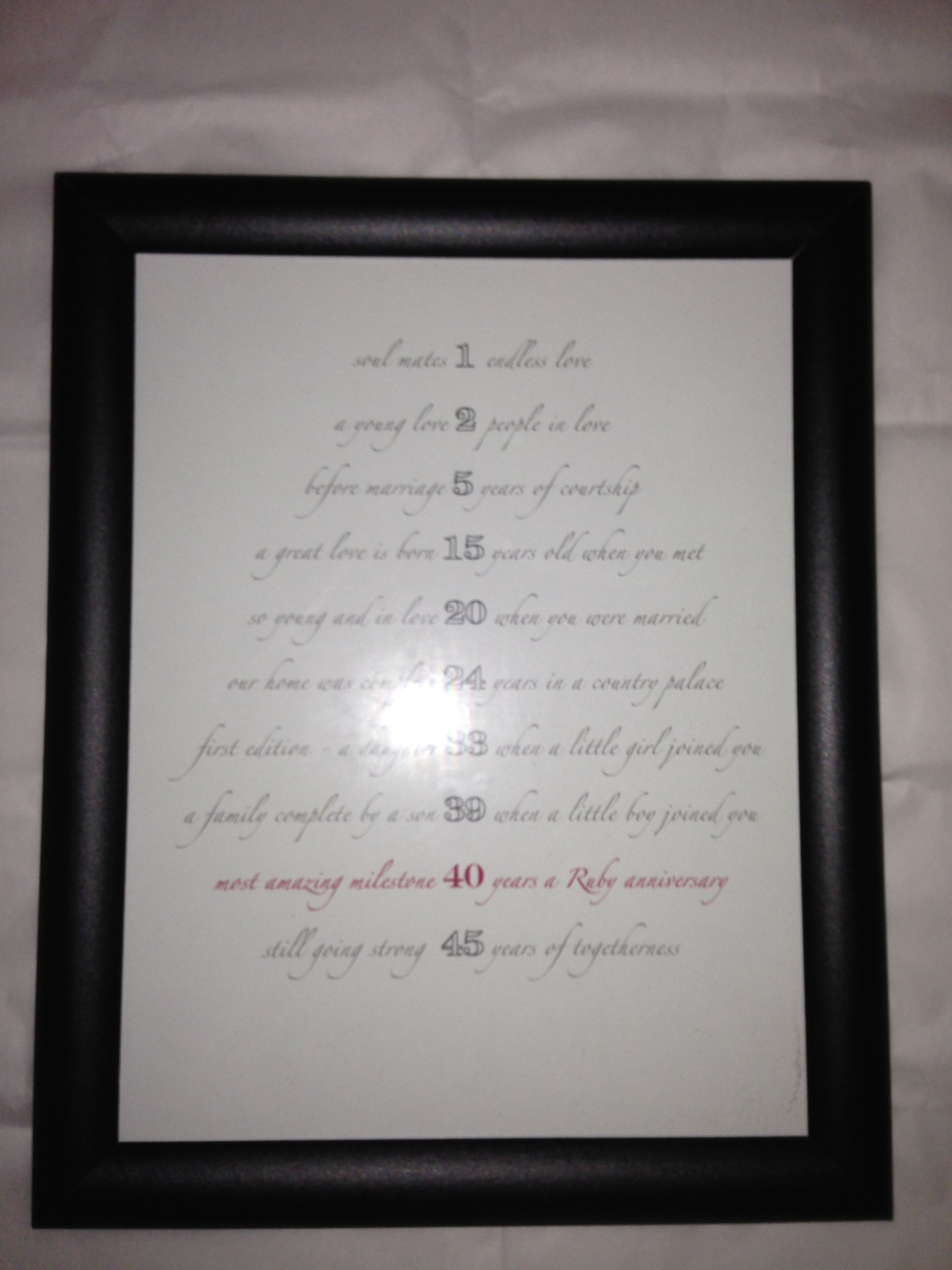 40th Wedding Anniversary Gifts For Parents Ideas : 40Th, Gift Ideas, Dads Anniversary, Anniversary Ideas, 40Th Wedding ...