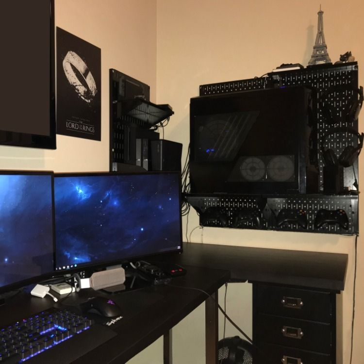 Pc Console Gaming Setup With Wall Control Peg Board Metal Pegboard Board Storage