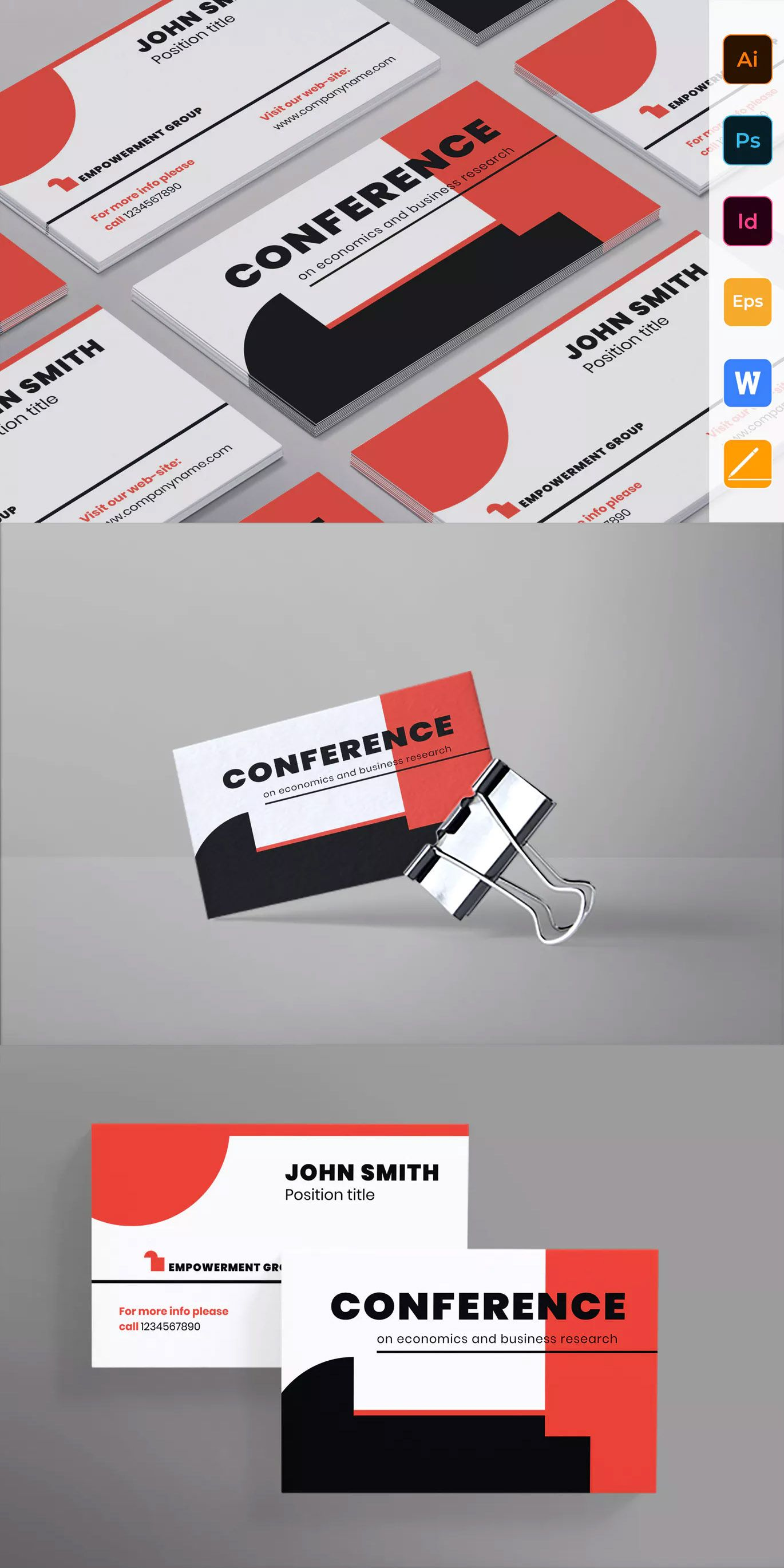 Conference Business Card By Ambergraphics On Envato Elements Business Card Graphic Business Card Template Business Cards