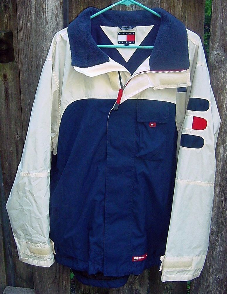 Mens Tommy Jeans Hilfiger Blue White Red Spellout Lined