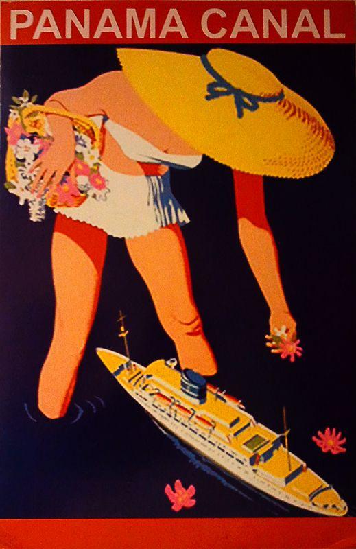 affiche vintage tourisme. Panama