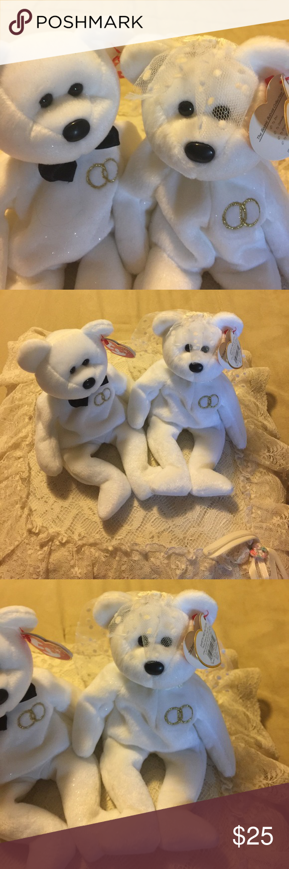 52fdb469359 Mr and Mrs beanie babies Ty A couple with a bowtie and a veil TY Accessories