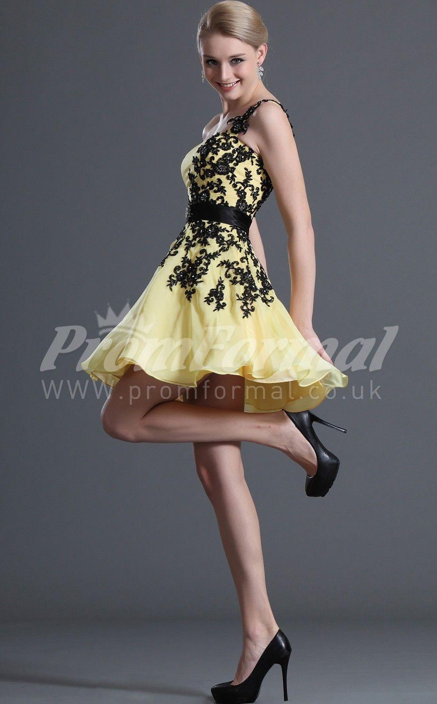 Aline one shoulder yellow short prom dresses ukshort prom dresses