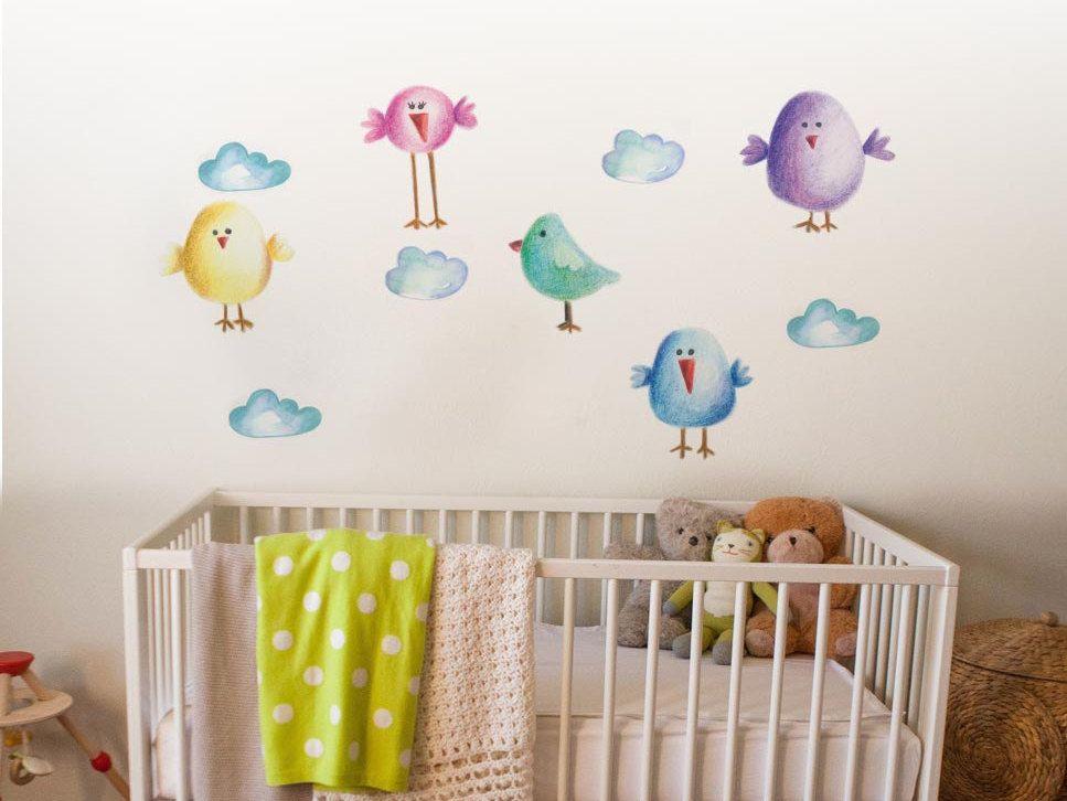 Nursery Birds Stickers Love Birds Clouds Wall Decal Clouds - Nursery wall decals clouds