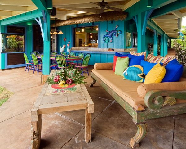 Tropical Outdoor Patio With Colorful Retro Chairs And Cushion Ideas