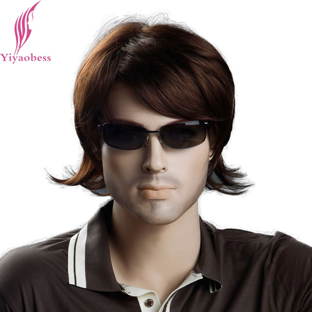 Yiyaobess inch heat resistant synthetic short mens wig brown color