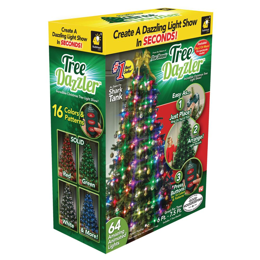Tree Dazzler 7 5 Ft 64 Light Led Multicolor Light Set 10956 6 The Home Depot Tree Dazzler Led Christmas Tree Lights Led Christmas Tree