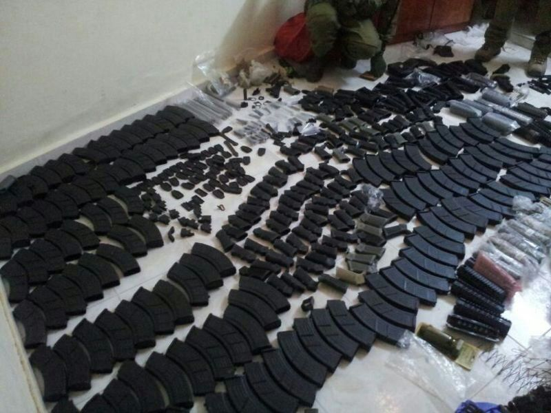 IDF forces seized a large cache of illegal weapons overnight Wednesday (June 26) discovered in the homes of terror suspects in Nablus.