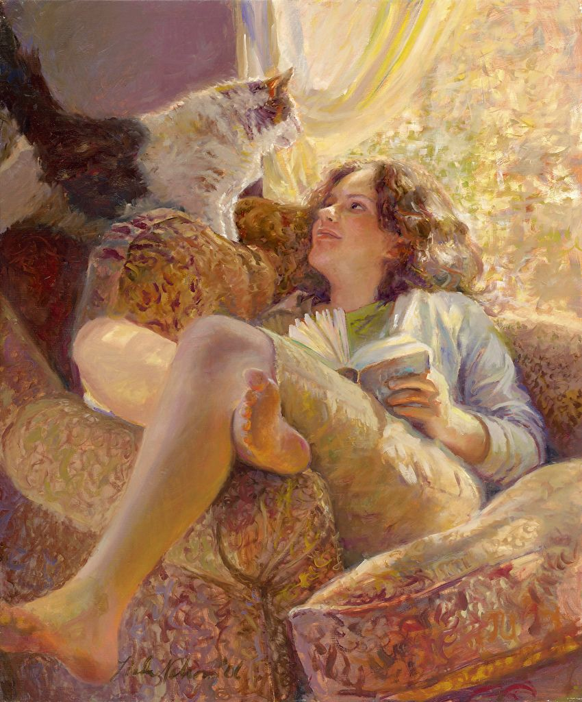 """Lindsay"" - Linda Lee Nelson, b. 1963 {contemporary figurative artist beautiful female reading book in window sunlight with feline cat painting} Comfy !!"