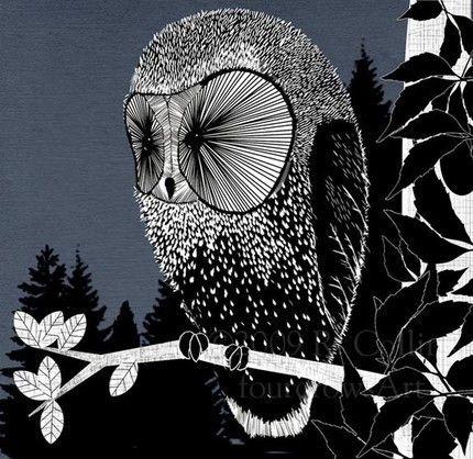 Black,and,white,illustration,owl,j,telefons,b,w ...