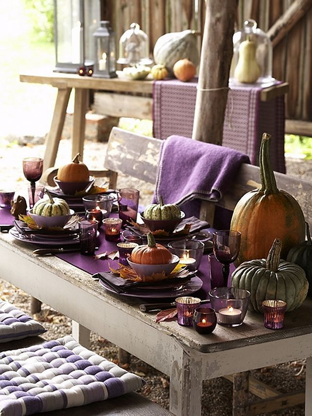 I Love The Color Purple It Makes Everything Surrounding It Look So Much Richer Great Fall Tablescape Indoo Outdoor Thanksgiving Fall Table Decor Fall Table