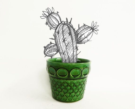 Retro emerald green planter Jasba 2433 16 by Retromania1331