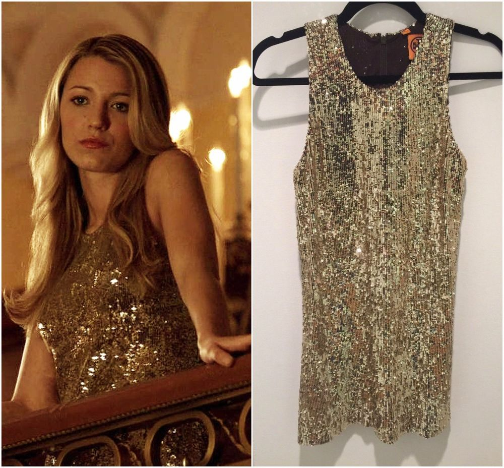 Tory Burch Gold Sequin Dress Size Xs Serena Van Der Woodsen Gossip Toryburch Shift Festive
