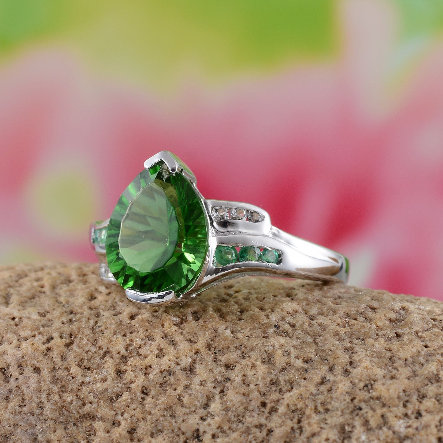 Helenite, Kagem Zambian Emerald, and White Topaz Ring in Platinum ...