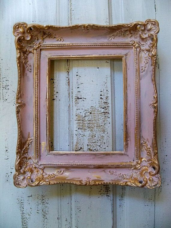 Shabby cottage distressed wood pink frame soft muted colors gold ac ...