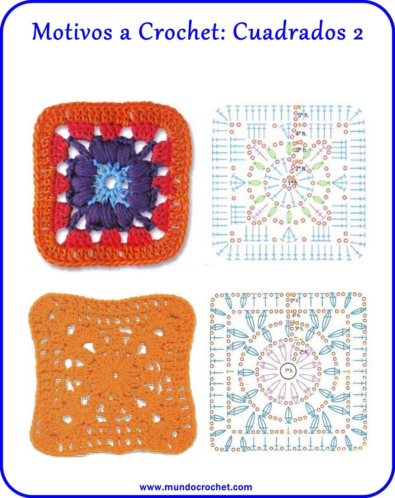 motivos cuadrados crochet | grannys | Pinterest | Cuadrados ...