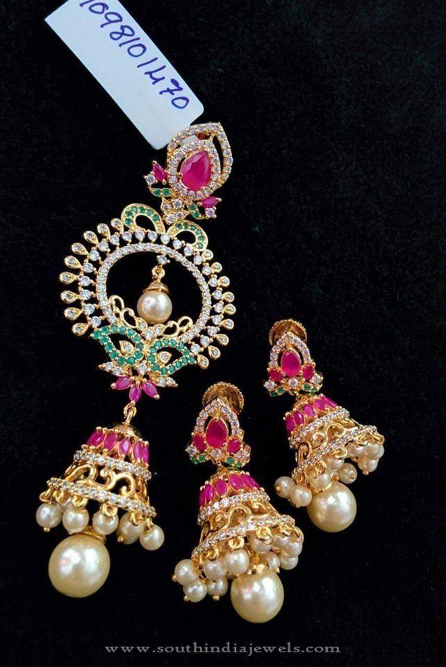 Imitation Jhumka Pendant With Earrings Pinre Jewelry