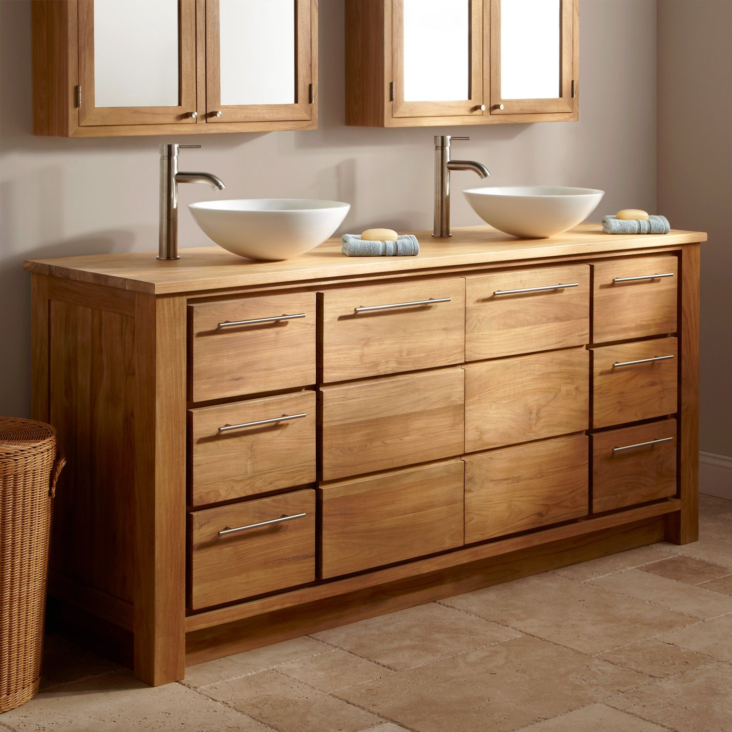 Bathroom sink cabinets ideas - Maximize Your Master Bathroom With The Venica Teak Double Vanity Created For Use With Two Vessel Sinks This Vanity Has Two Large Center Doors And Four