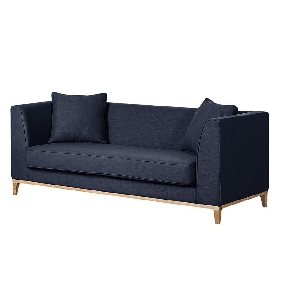 Sofa Blomma 3 Sitzer Webstoff Dunkelblau Gestell Eichefarbig Sofa Sofas 3 Sitzer Sofa