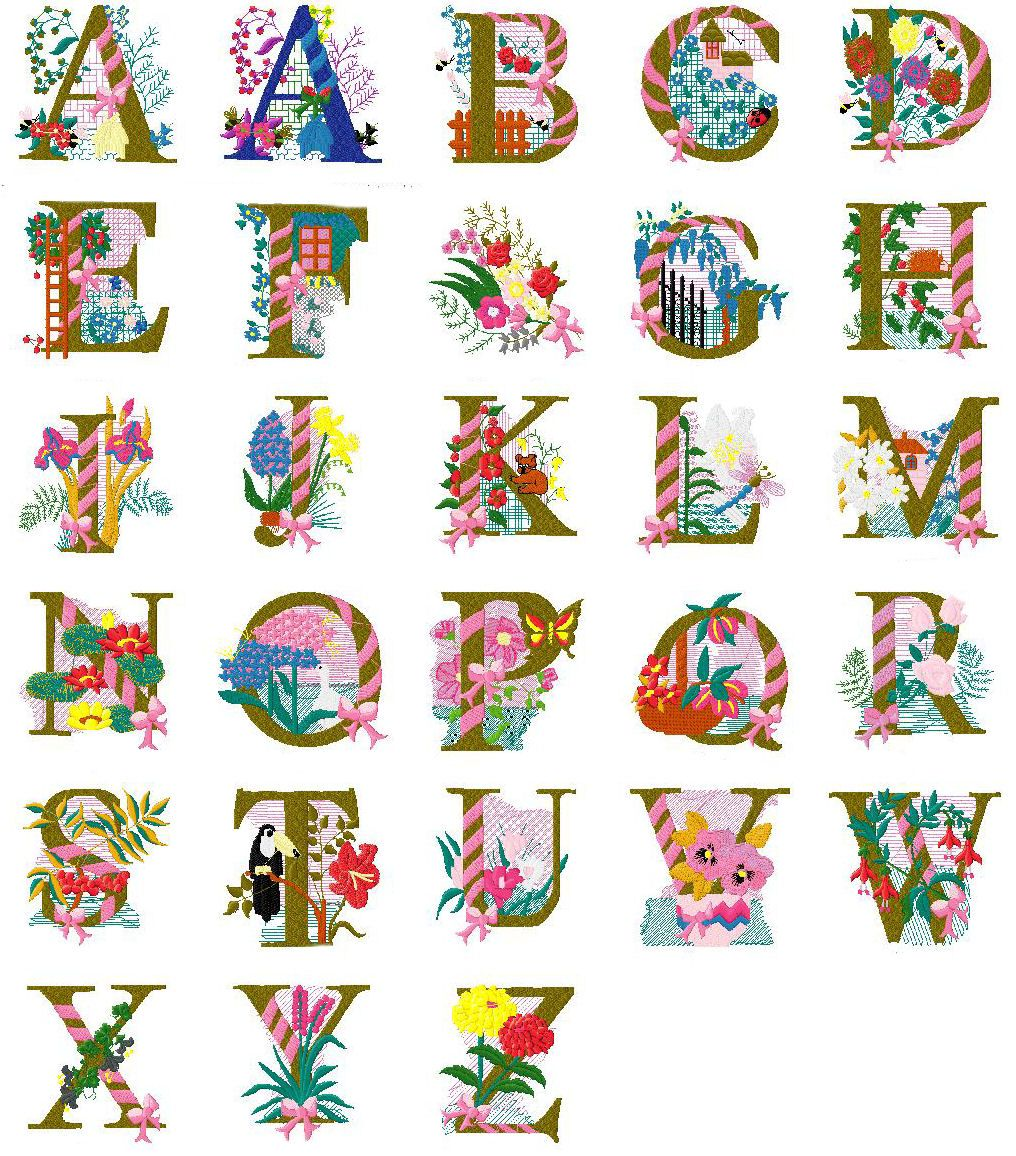 Free machine embroidery alphabet floral design complete