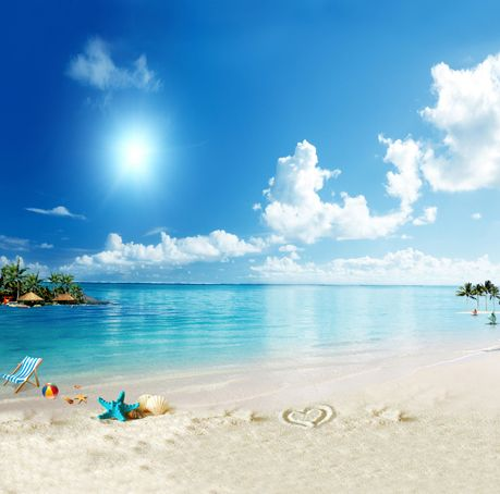 Tropical Beach Ocean Party Backdrop For Photo Studio Clouds Blue