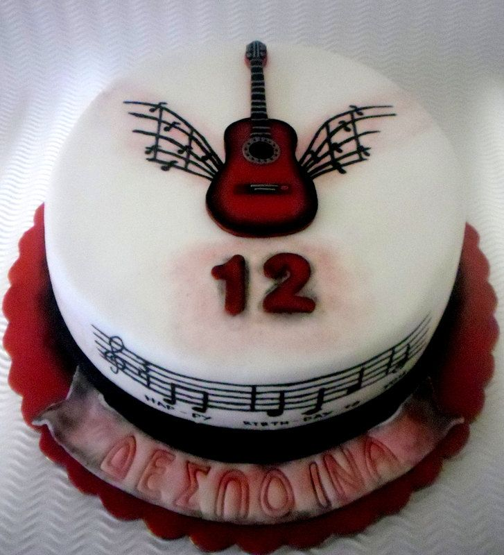 Music Guitar 2D Fondant Cake Topper Music Guitar Birthday Party