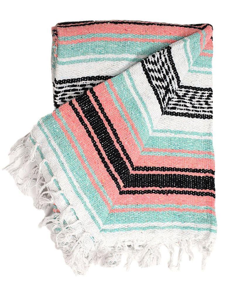 Mexican Serape Blanket Gray /& White throw Southwest white fringe XL
