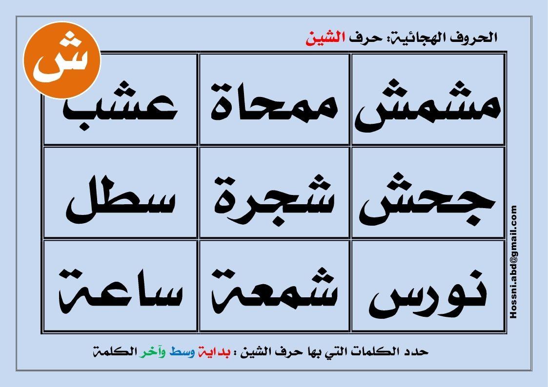 الحروف الهجائية حرف الشين Mini Books Arabic Words Words