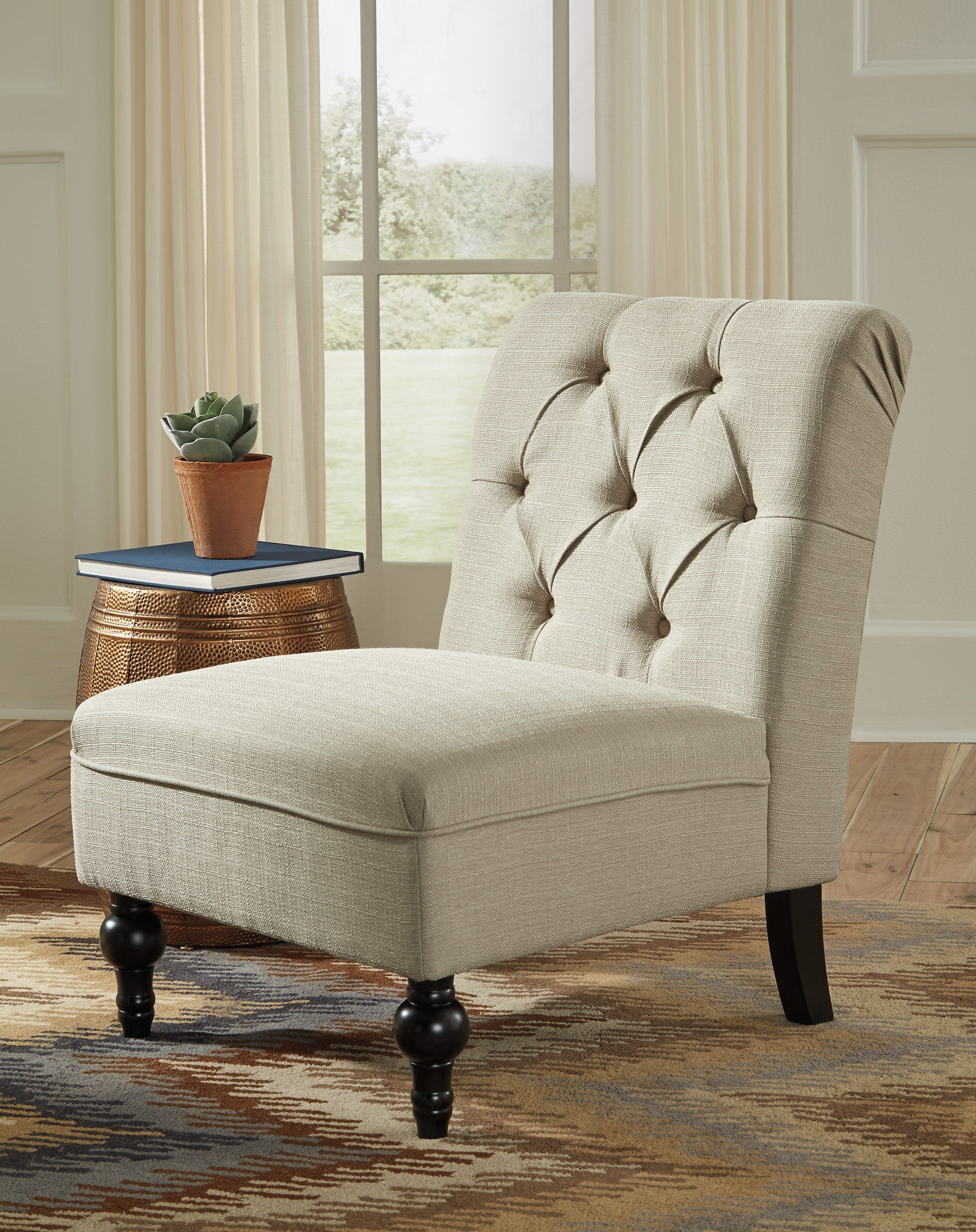 Signature Design A3000123 Degas Beige Linen Finish Accent Chair