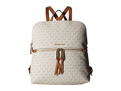 8501d7ab0f17 MICHAEL Michael Kors Rhea Medium Slim Backpack (Signature Vanilla) --  Details can be found at