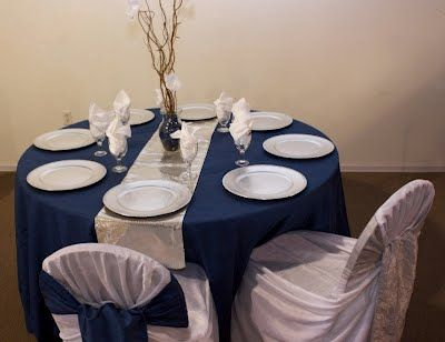 Navy Tablecloth With Silver Runner Just Need To Buy Silver Charger Plates And A Green Centerpiece Silver Charger Plates Navy Tablecloth Silver Chargers