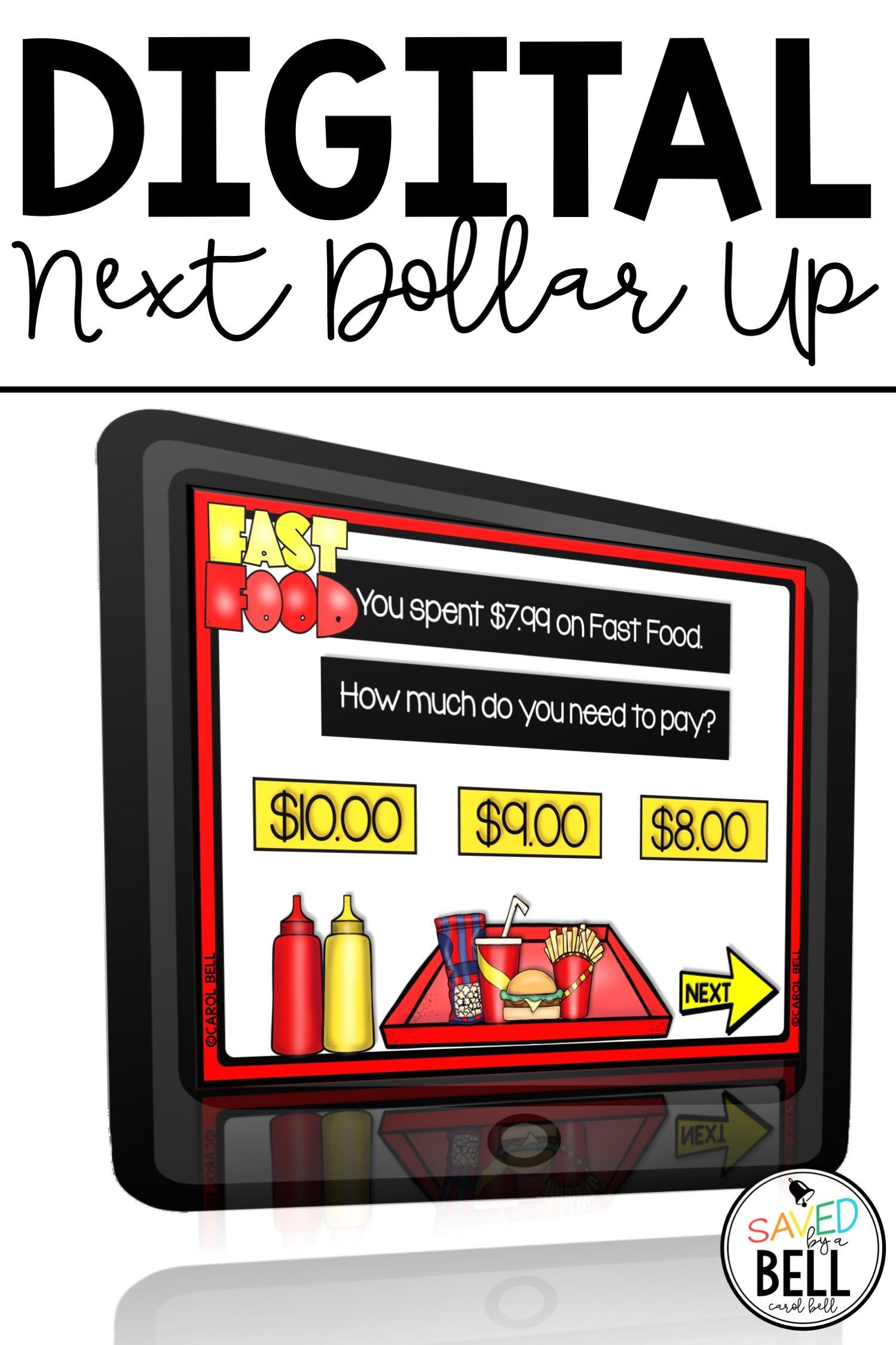 Digital Next Dollar Up Task Cards Menu Math Distance