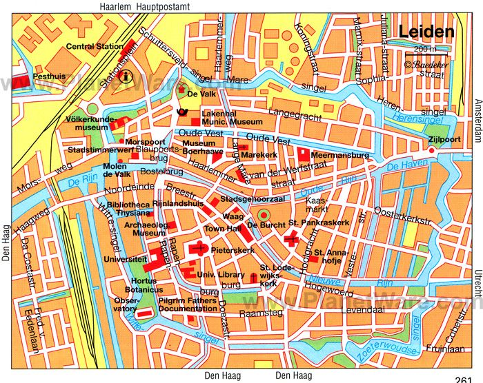 Leiden ZuidHolland Netherlands Map of the city centre with the