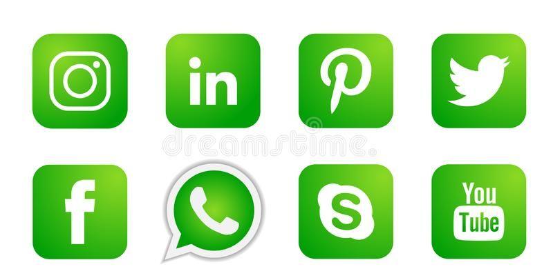 Set Of Popular Social Media Logos Icons In Green Instagram Facebook Twitter Youtube Whatsapp Element Vector On Whit Social Media Logos Logo Facebook Logo Icons