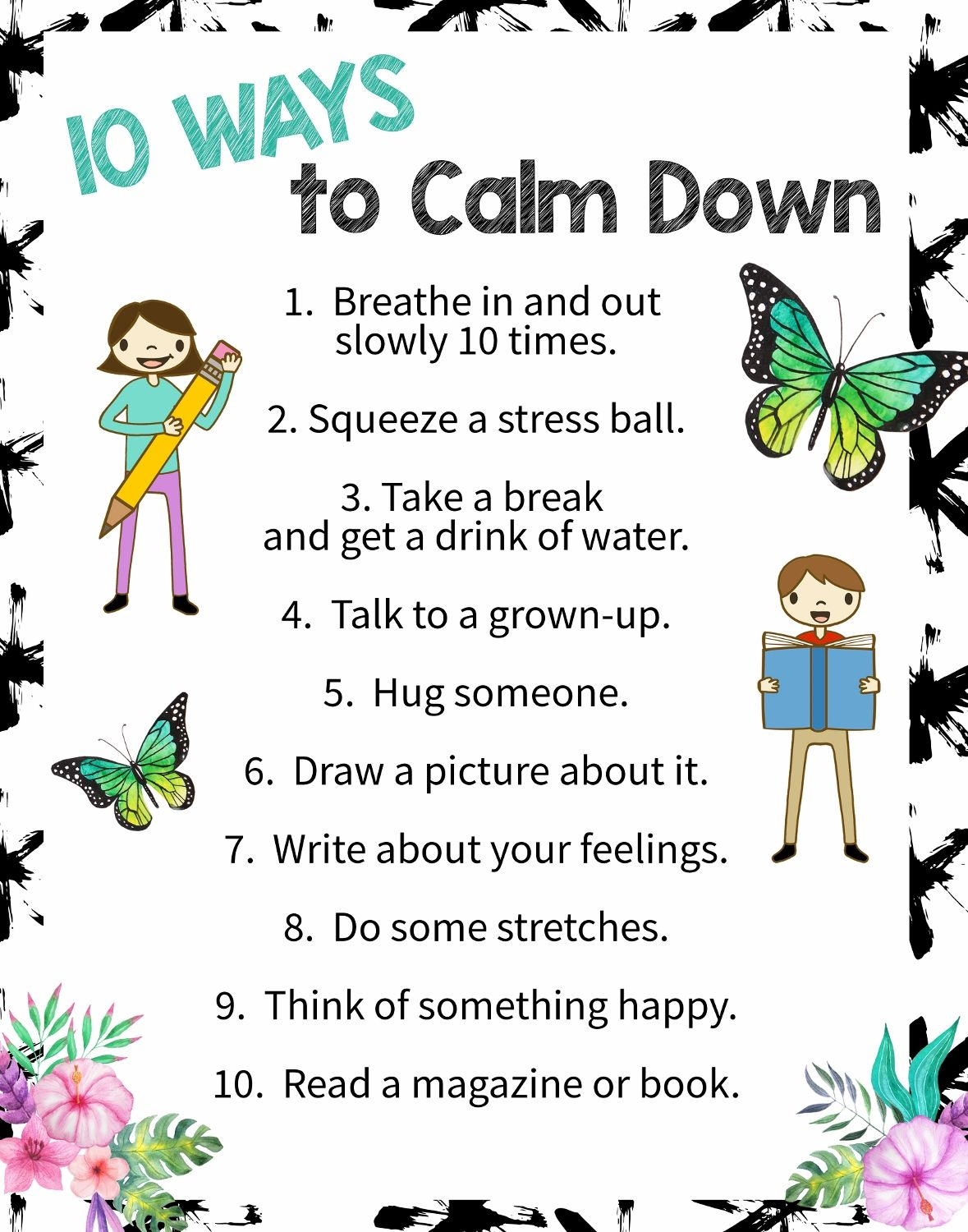 10 Ways To Calm Down A Free Printable Poster Art Is Basic An Elementary Art Blog Mindfulness For Kids School Psychology Coping Skills