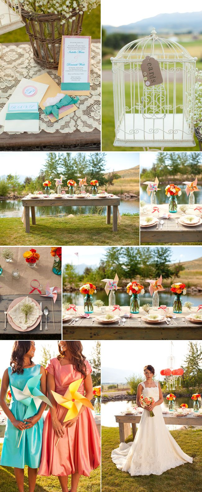 Farm Sweet Styled Shoot | Love and Lavender love the cheerful pinwheel centrepieces for picnic table