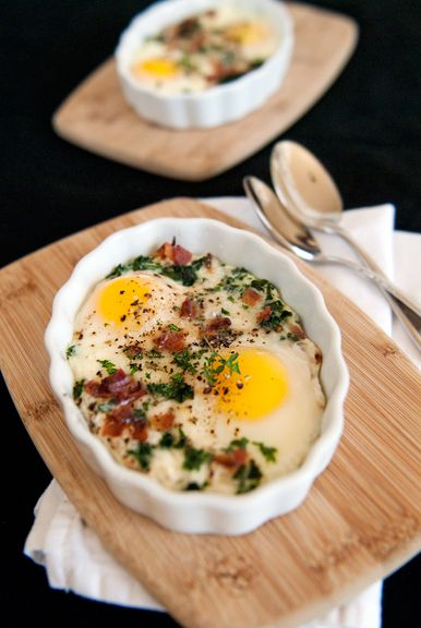 baked eggs with kale, bacon, and parmesan