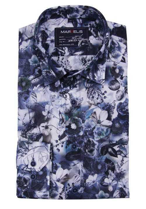 Marvelis Casual Fit Hemd Langarm New Kent Kragen Muster Blau Hemd Shirt Drucken Langarm