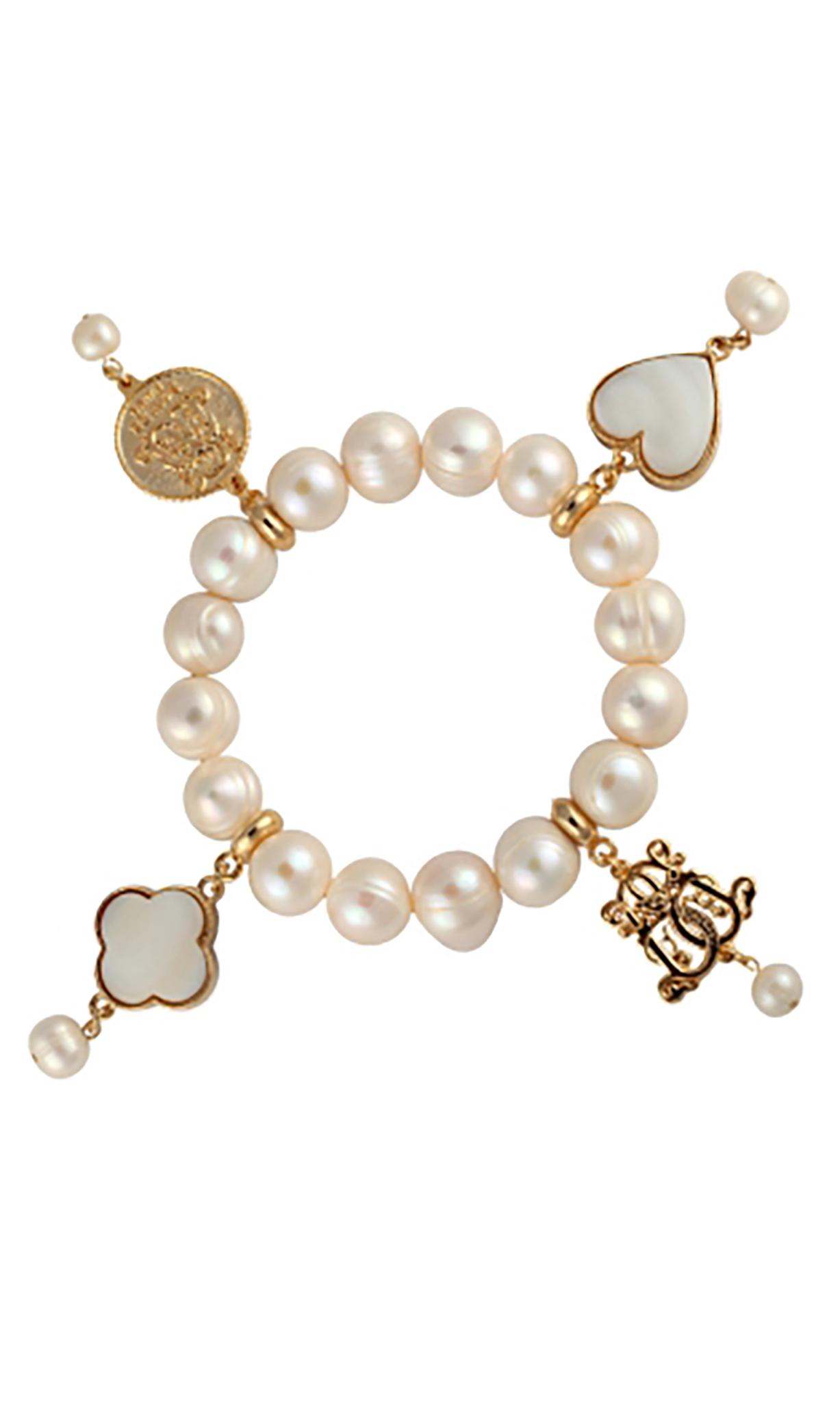Lucky charm freshwater pearl bracelet gold freshwater pearl