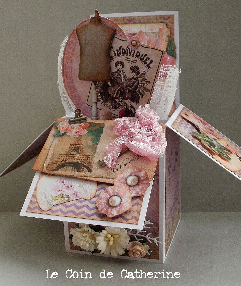 a pop up box card le coin de catherine karten in einer box pinterest. Black Bedroom Furniture Sets. Home Design Ideas