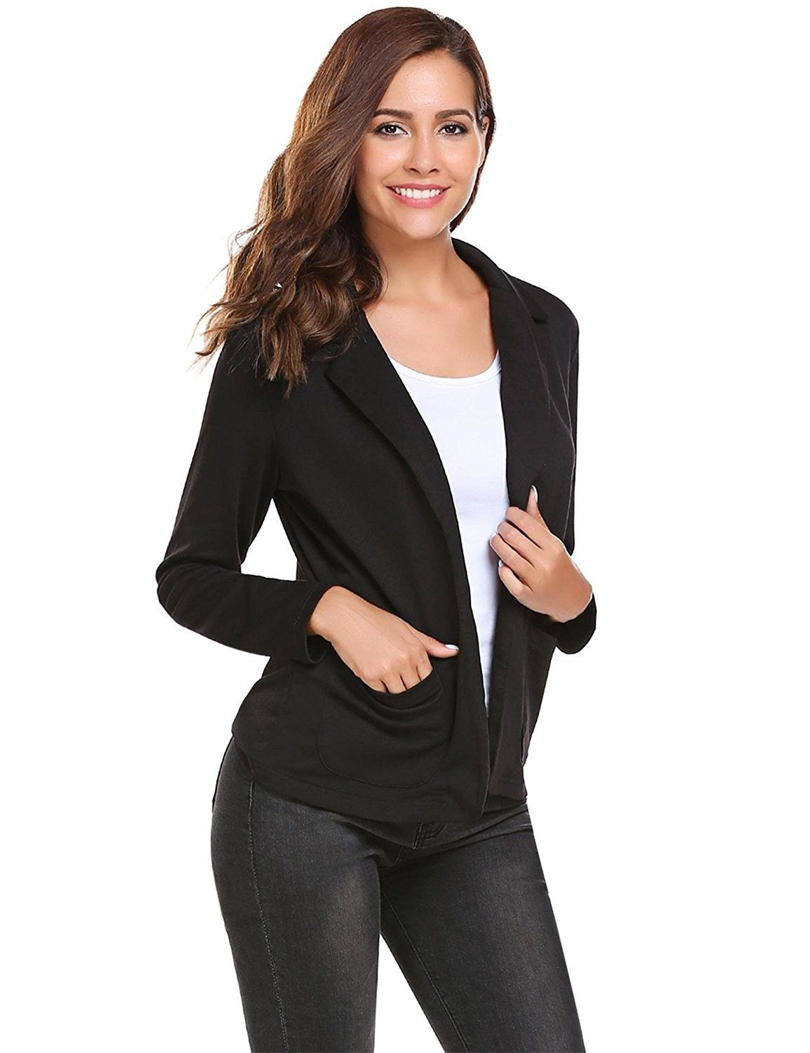 Fashion Ladies Womens Long Sleeve Solid Open Front Blazer Casual Jacket Coat