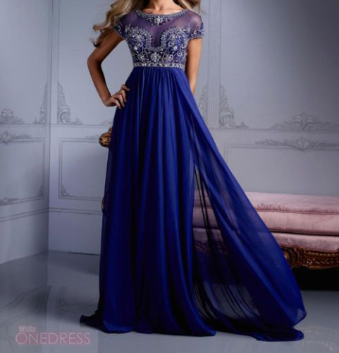 New 2014 Royal Blue Chiffon Long Formal Party Prom Evening Dresses ...