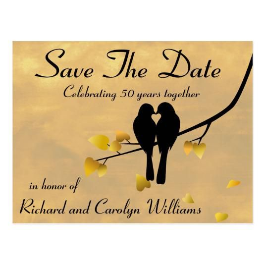 50th Anniversary Lovebirds Save The Date Cards