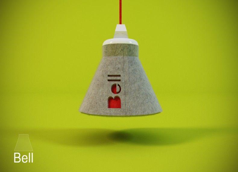 BELL è una lampada a sospensione di facile  montaggio.I materiali principali sono feltro e velcro.L'utilizzo di questi particolari materiali è stata presa in favore della leggerezza e della trasportabilità.BELL è minimale, sia nella forma che nella sostanza.
