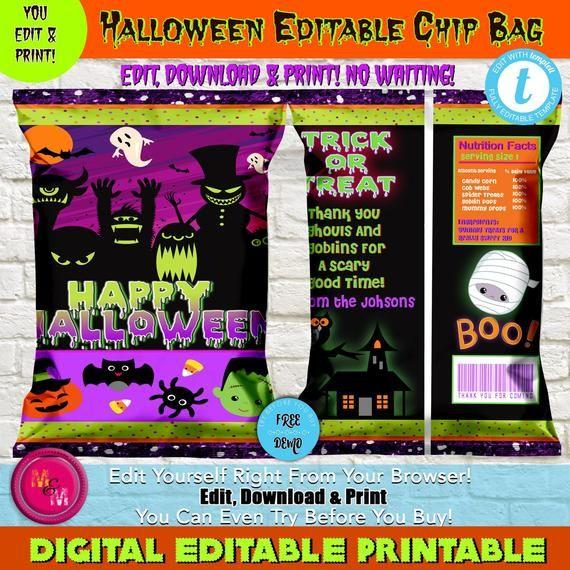 Editable Halloween Chip Bag Printable, Halloween Party Chip bag