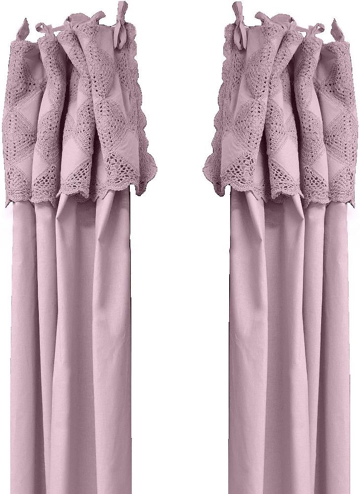 www.gardsromantik.se - Knytbandslängder virkade rosa romantisk shabby chic lantlig stil mormorsgardiner
