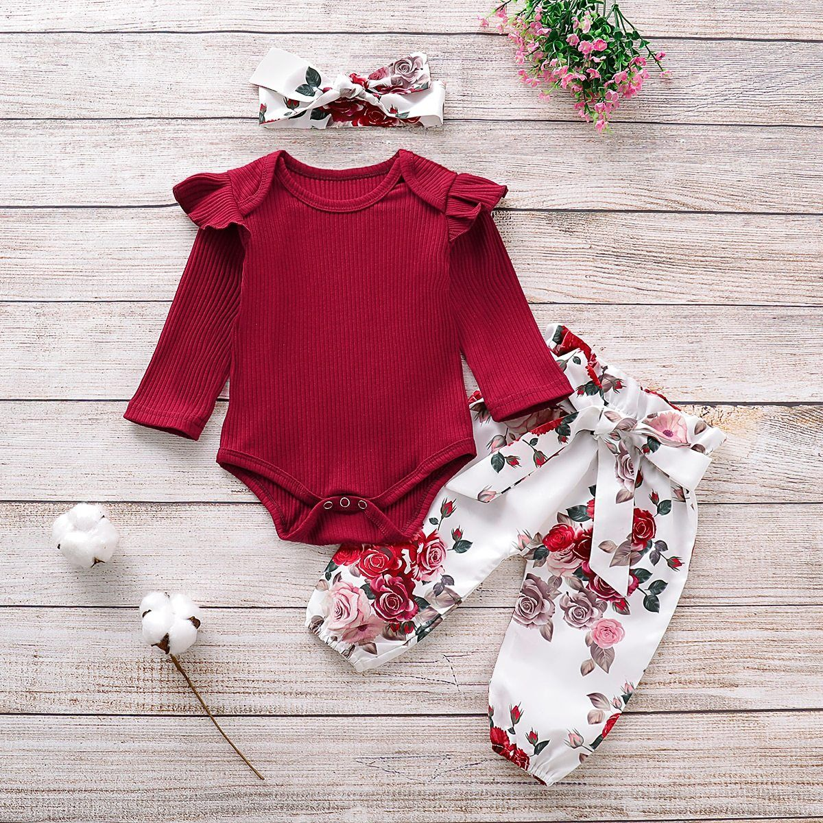 Baby Girl Outfits Winter Long Sleeve Romper Top Floral Pants Bow Headband Clothes Set