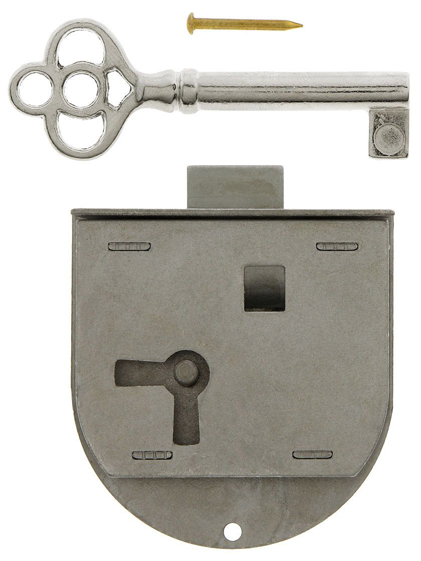 Polished Steel Half Mortise Cabinet Lock Right Hand Steel Mortise Lock Antique Hardware