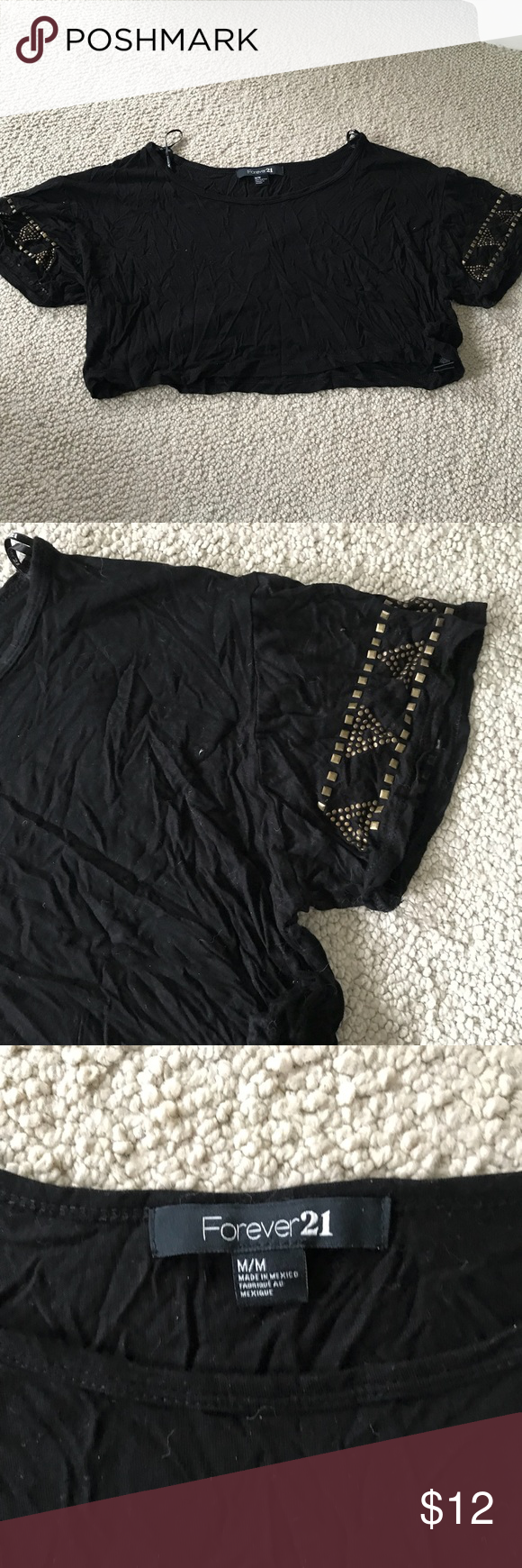 Forever cropped studded tee