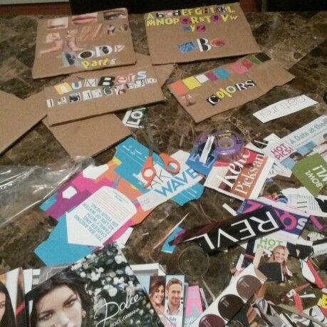 Magazine's,tape,cardboard&scissors .